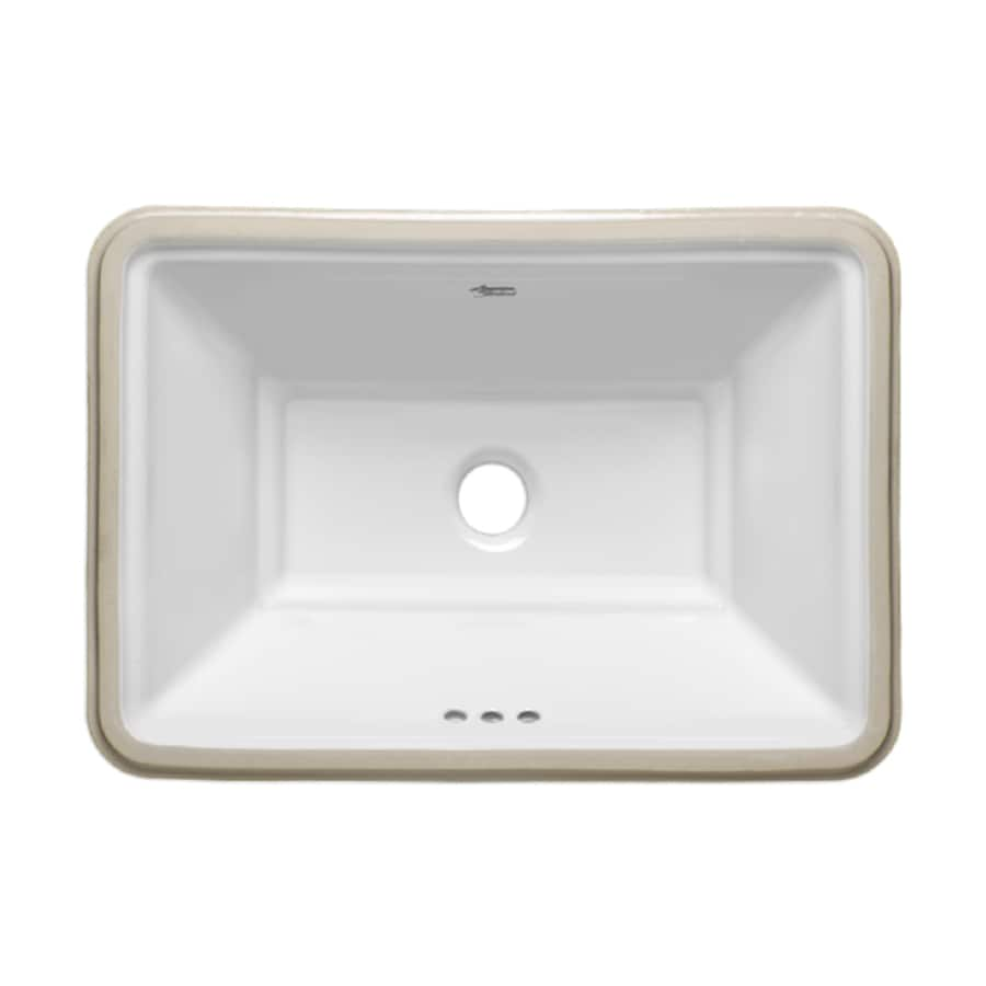 shop american standard esteem white undermount rectangular bathroom sink with overflow at