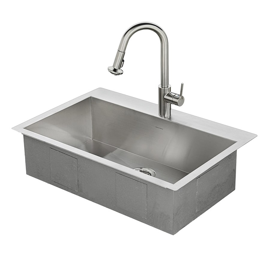 american standard memphis 33 in x 22 in single basin stainless steel drop shop kitchen sinks at lowes com  rh   lowes com