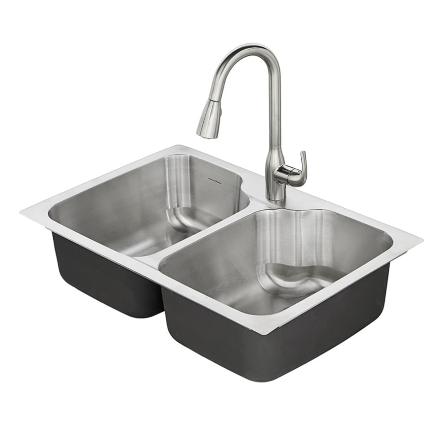American Standard Tulsa 33-in x 22-in Double-Basin Stainless Steel Drop-in or Undermount 1-Hole Residential Kitchen Sink All-In-One Kit