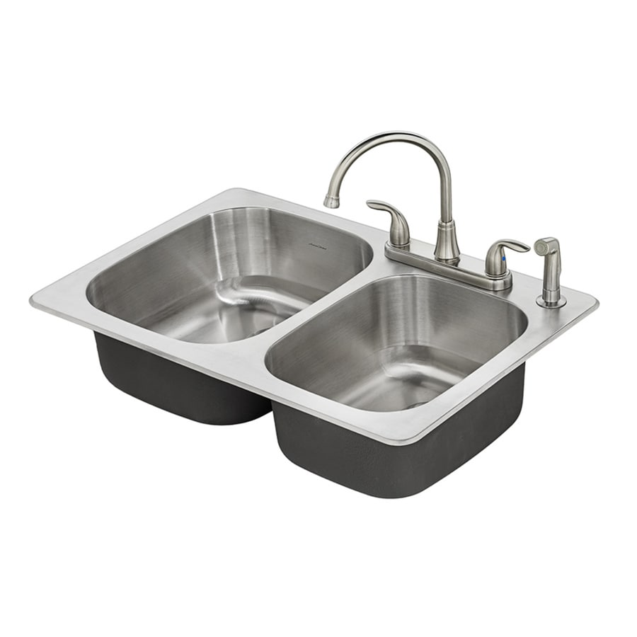 Shop american standard fairport 33 in x 22 in double basin stainless steel drop in 4 hole - American standard kitchen sink ...