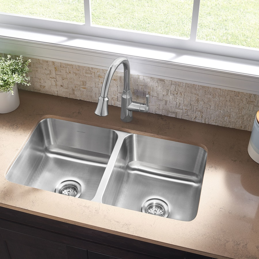Shop american standard danville 32 in x 18 in double basin stainless steel undermount - American standard kitchen sink ...