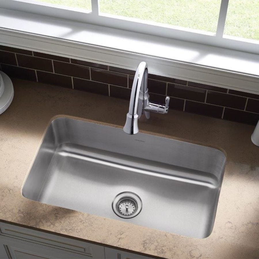 Shop american standard danville 30 in x 18 in single basin stainless steel undermount - American standard kitchen sink ...