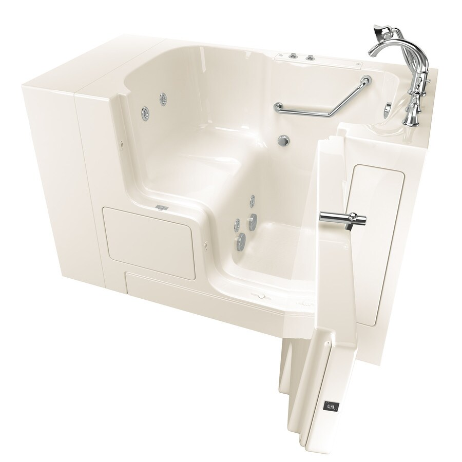 American Standard 52-in Linen Fiberglass Walk-In Whirlpool Tub with Right-Hand Drain