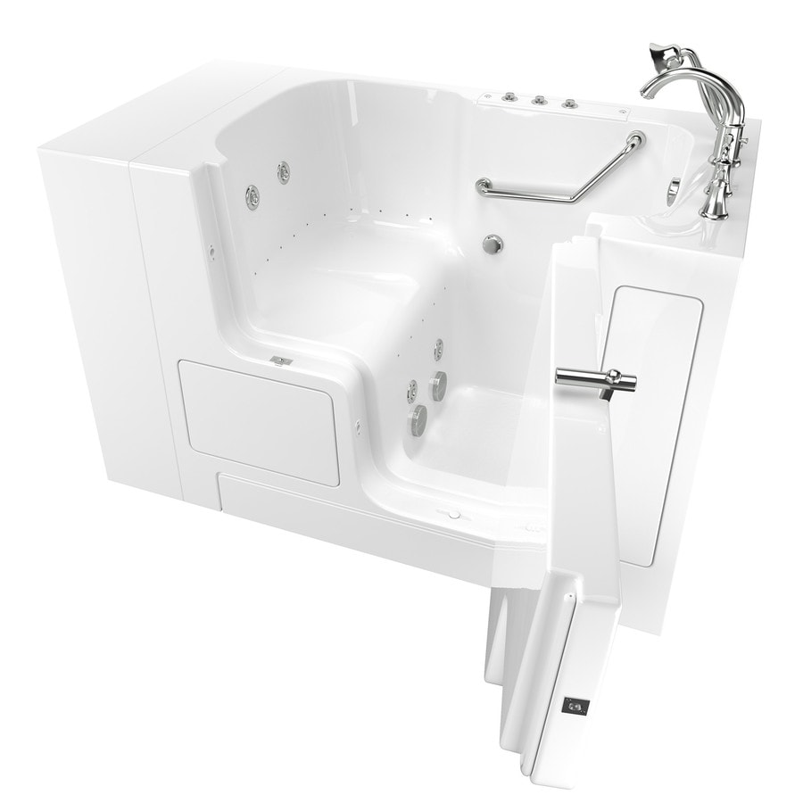 American Standard 52-in White Gelcoat/Fiberglass Walk-In Whirlpool Tub And Air Bath with Right-Hand Drain