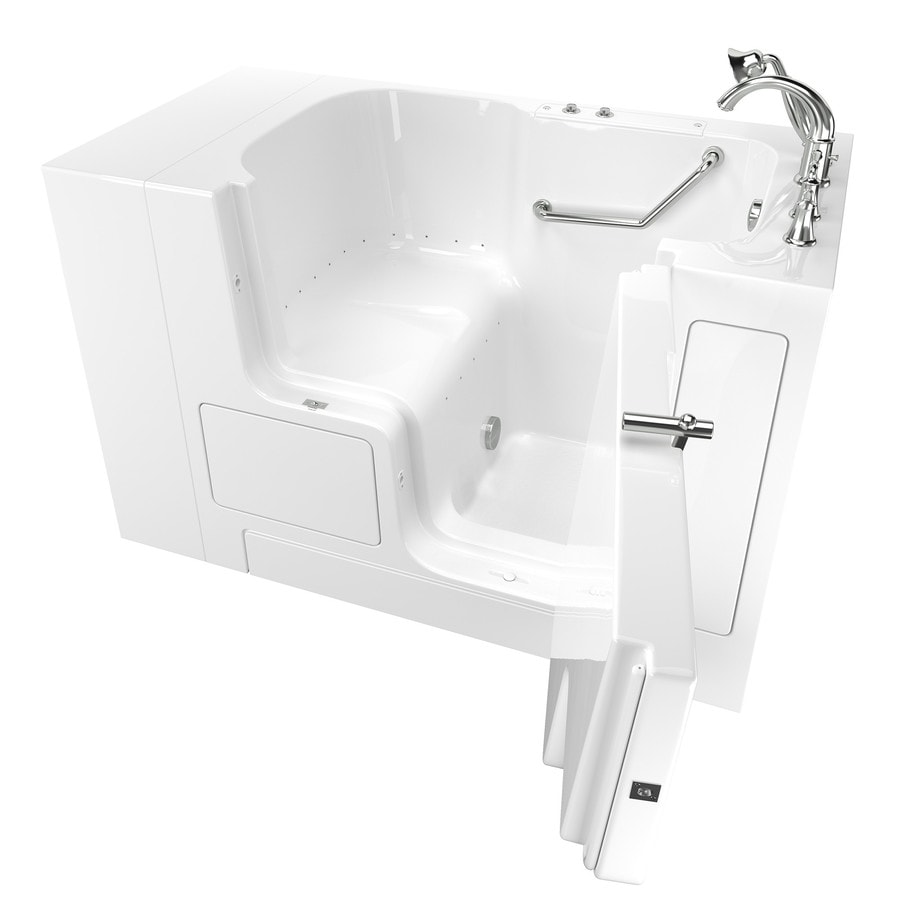 American Standard 52-in White Gelcoat/Fiberglass Walk-In Air Bath with Right-Hand Drain