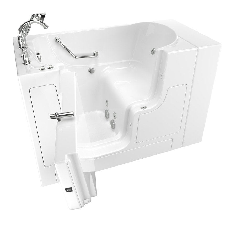American Standard 52-in White Fiberglass Walk-In Whirlpool Tub with Left-Hand Drain
