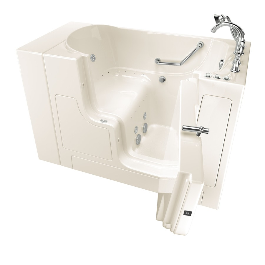 American Standard 52-in Linen Gelcoat/Fiberglass Walk-In Whirlpool Tub And Air Bath with Right-Hand Drain