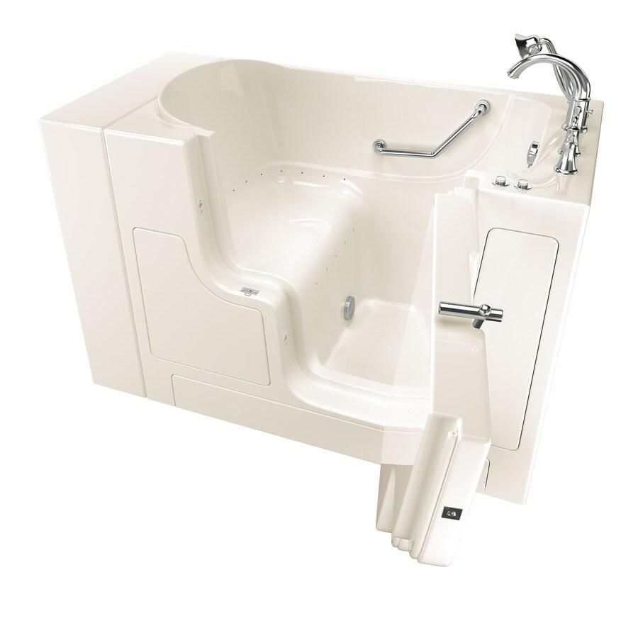 American Standard 52-in Linen Gelcoat/Fiberglass Walk-In Air Bath with Right-Hand Drain