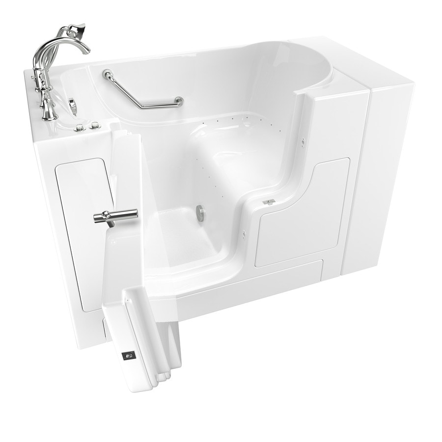 American Standard 52-in White Gelcoat/Fiberglass Walk-In Air Bath with Left-Hand Drain