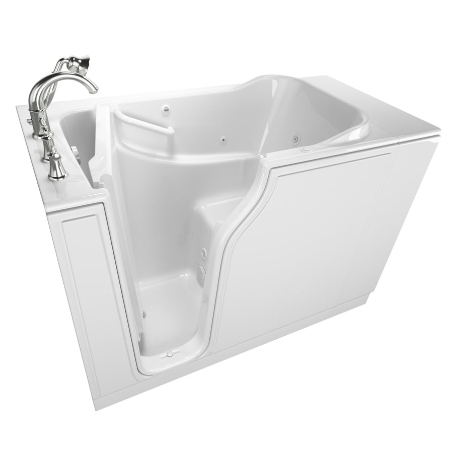 American Standard 51.5-in White Gelcoat/Fiberglass Walk-In Whirlpool Tub with Left-Hand Drain