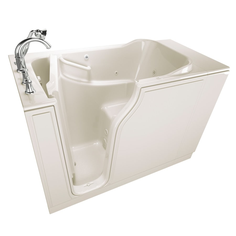 American Standard 51.5-in Linen Gelcoat/Fiberglass Walk-In Whirlpool Tub with Left-Hand Drain