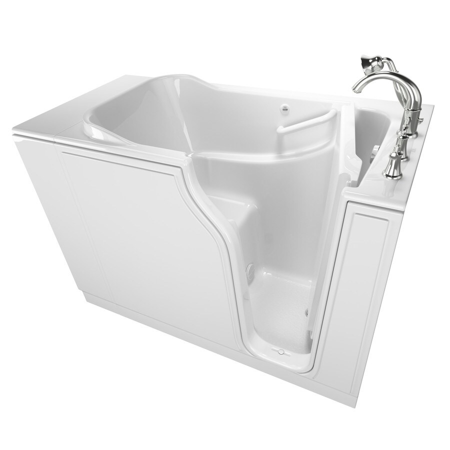 American Standard 51.5-in White Gelcoat/Fiberglass Walk-In Bathtub with Right-Hand Drain