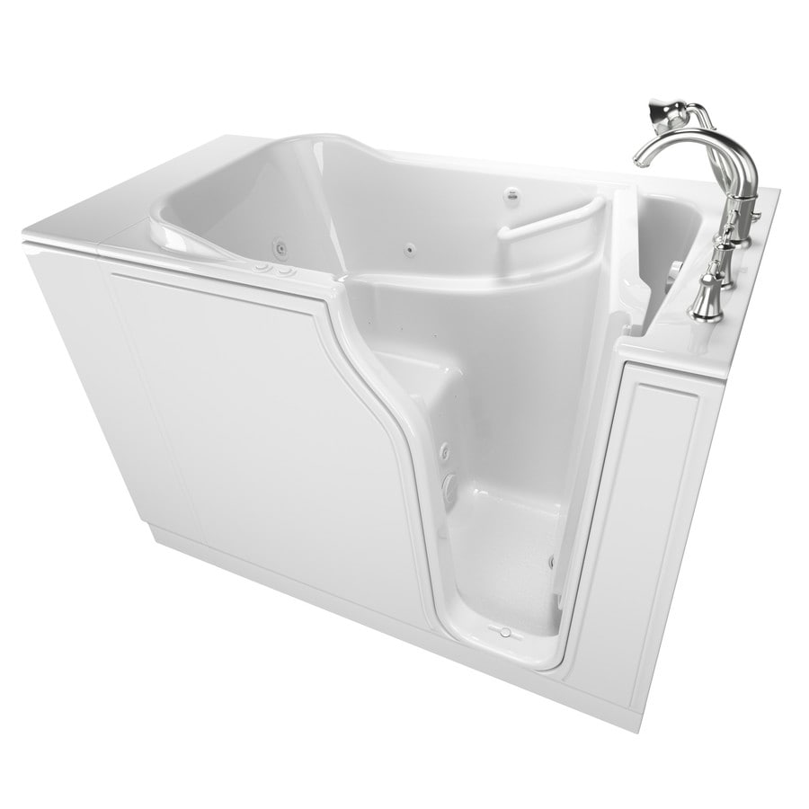 American Standard 51.5-in White Gelcoat/Fiberglass Walk-In Whirlpool Tub and Air Bath with Right-Hand Drain