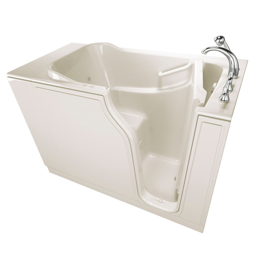 Safety Tubs 51.5-in Biscuit Gelcoat/Fiberglass Walk-In Whirlpool Tub and Air Bath with Right-Hand Drain