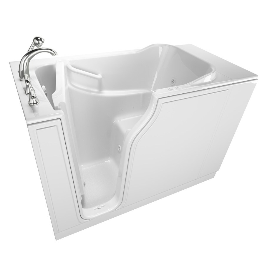 Safety Tubs 51.5-in White Gelcoat/Fiberglass Walk-In Whirlpool Tub And Air Bath with Left-Hand Drain