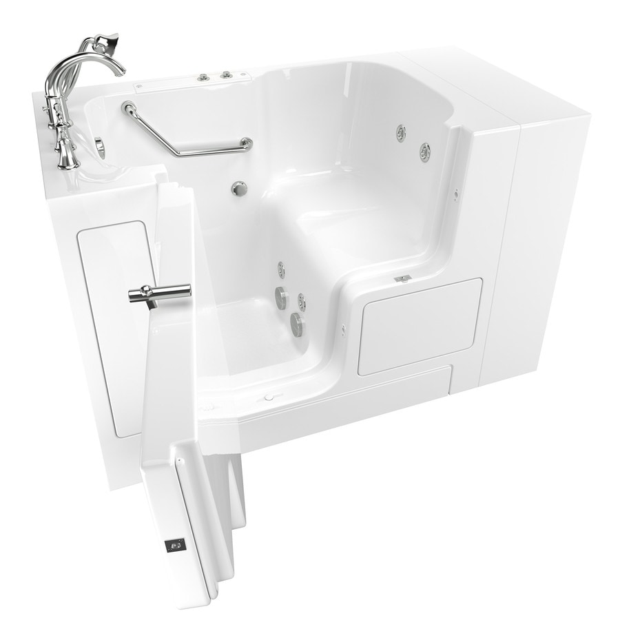 American Standard 52-in White Gelcoat/Fiberglass Walk-In Whirlpool Tub with Left-Hand Drain