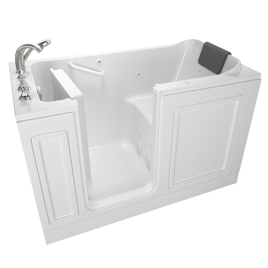 American Standard 59.5-in White Acrylic Walk-In Whirlpool Tub with Left-Hand Drain