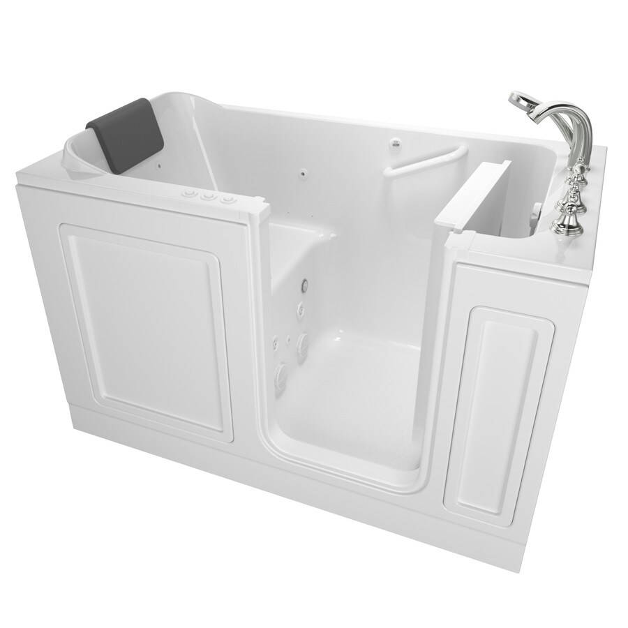 American Standard 59.5-in White Acrylic Walk-In Whirlpool Tub And Air Bath with Right-Hand Drain