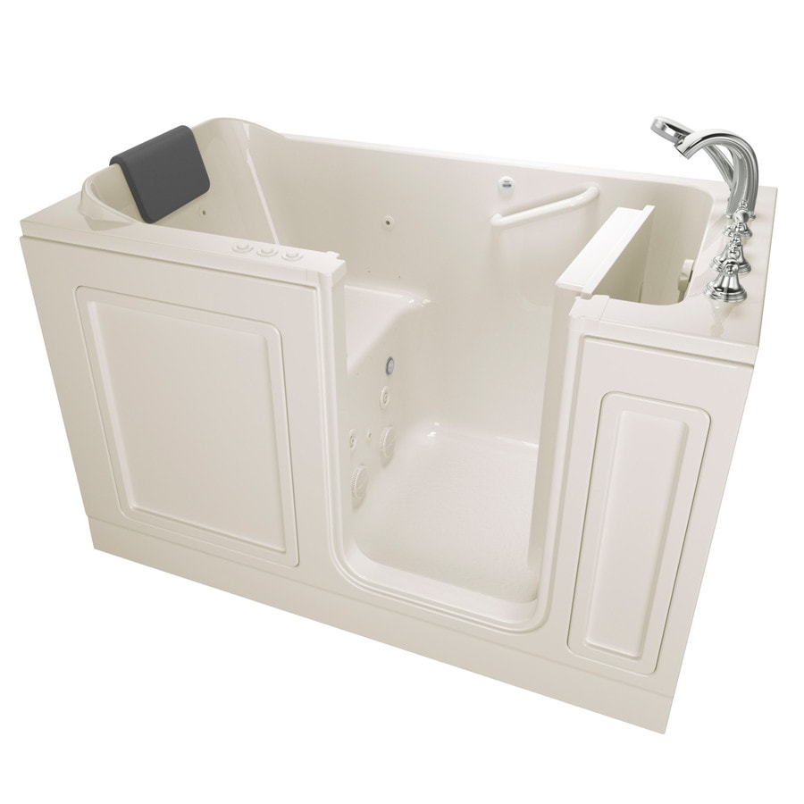 American Standard 59.5-in Linen Acrylic Walk-In Whirlpool Tub And Air Bath with Right-Hand Drain