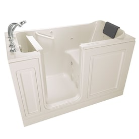 Empava 52 5 In W X 26 5 In L White Acrylic Rectangular Left Drain Walk In Soaking And Faucet Included In The Bathtubs Department At Lowes Com