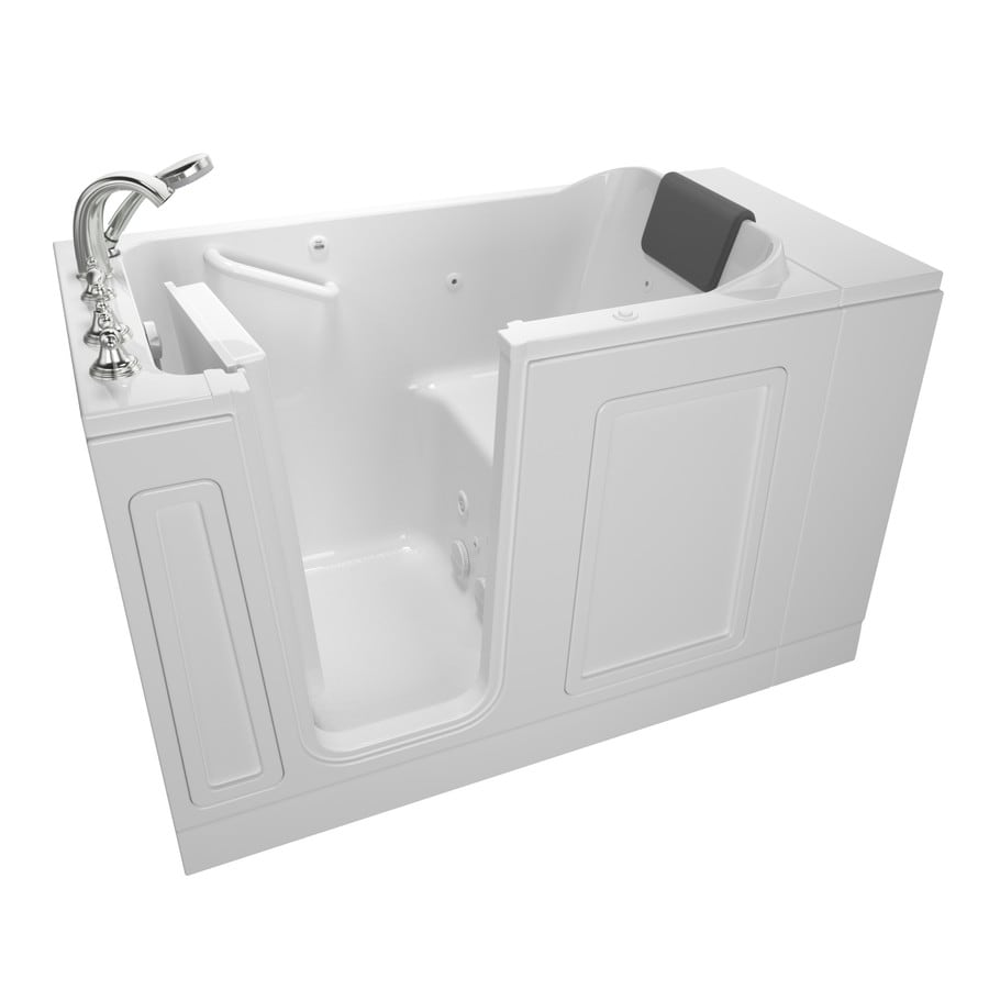 American Standard 50.5-in White Acrylic Walk-In Whirlpool Tub with Left-Hand Drain