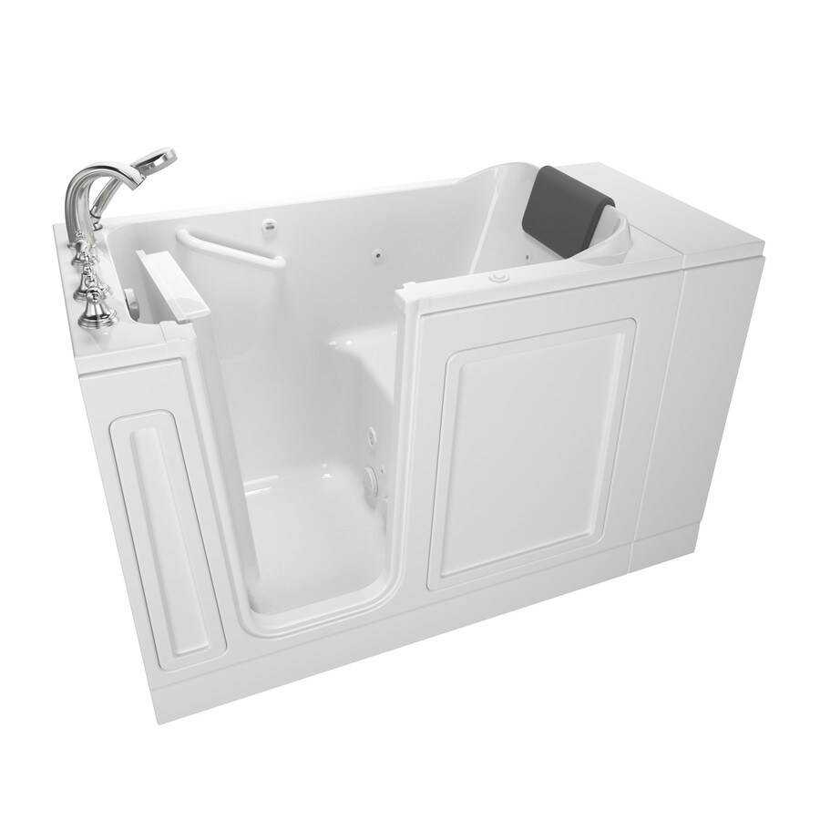 American Standard 48-in White Acrylic Walk-In Whirlpool Tub with Left-Hand Drain