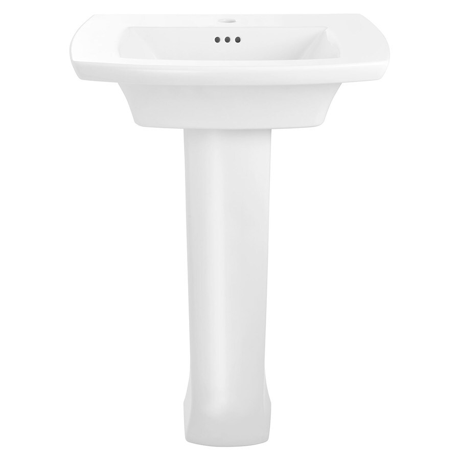 American Standard Edgemere 35.625-in H White Fire Clay Pedestal Sink