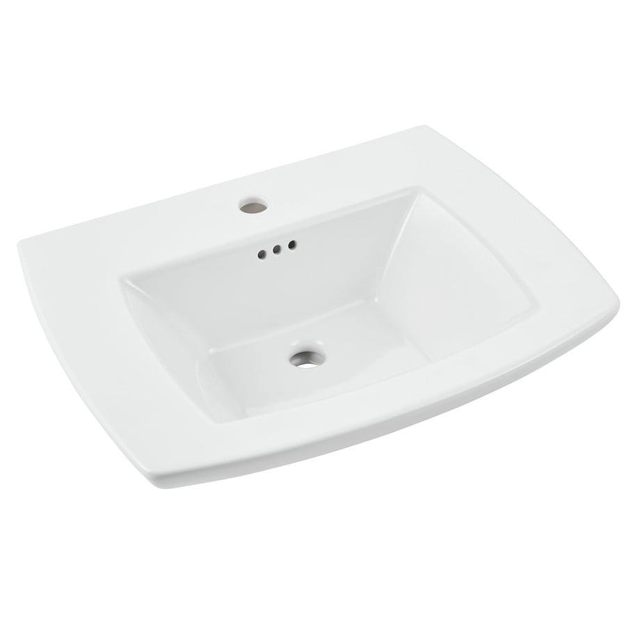 American Standard Edgemere 25-in L x 19.5-in W White Fire clay Rectangular Pedestal Sink Top