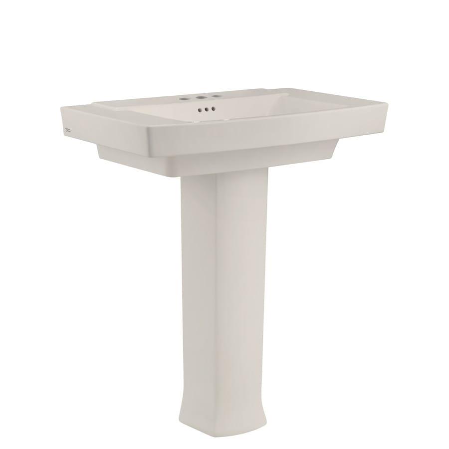 American Standard Townsend 35.125-in H Linen Fire Clay Pedestal Sink