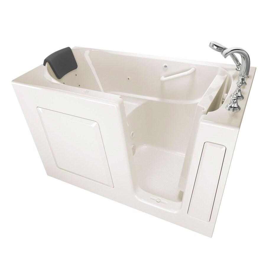 American Standard 59.5-in Linen Gelcoat/Fiberglass Walk-In Whirlpool Tub with Right-Hand Drain
