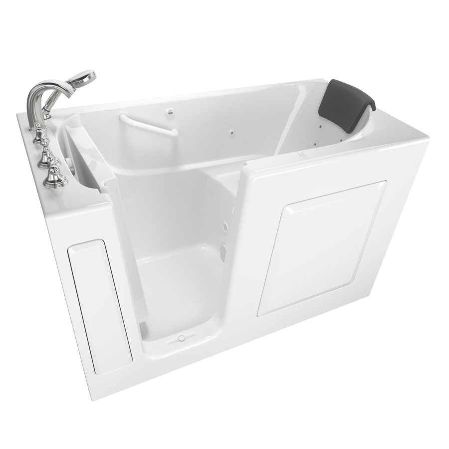 American Standard 59.5-in White Gelcoat/Fiberglass Walk-In Whirlpool Tub with Left-Hand Drain