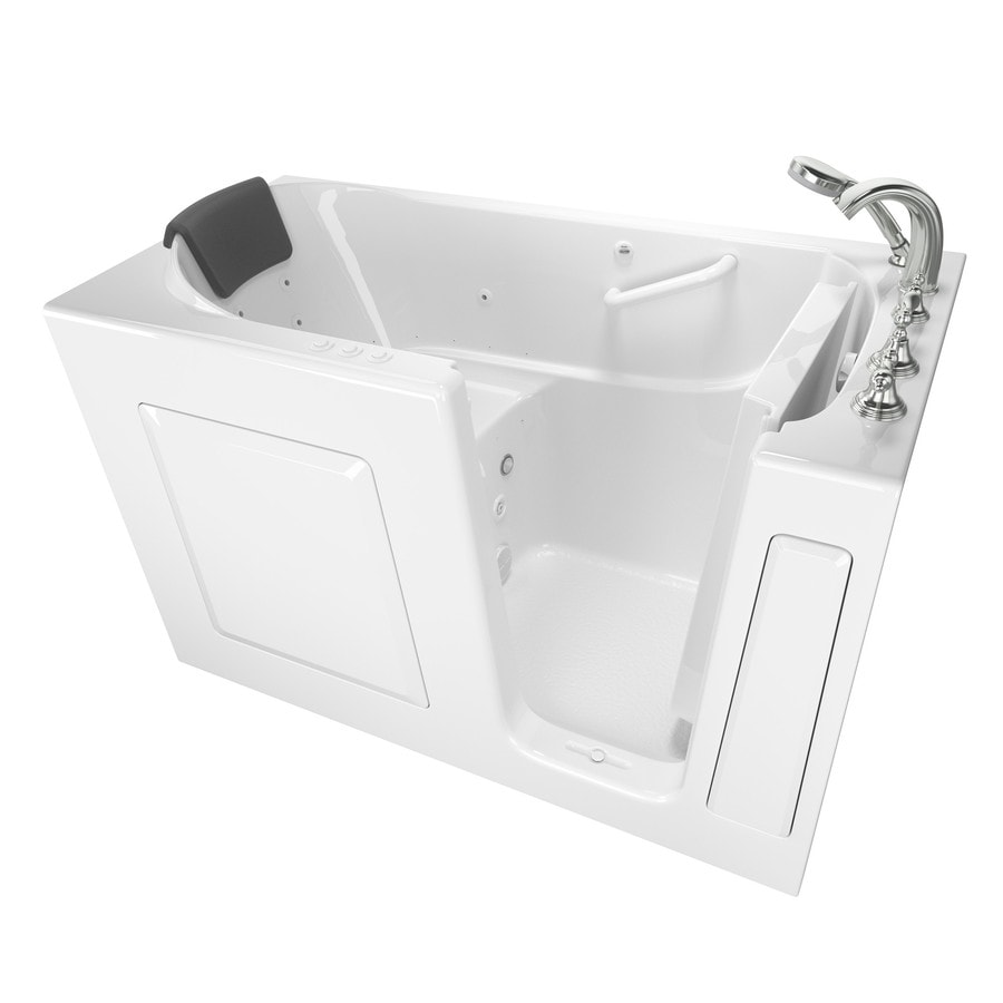 American Standard 59.5-in White Gelcoat/Fiberglass Walk-In Whirlpool Tub And Air Bath with Right-Hand Drain