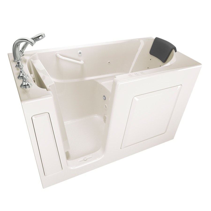 Safety Tubs 59.5-in Linen Gelcoat/Fiberglass Walk-In Whirlpool Tub And Air Bath with Left-Hand Drain