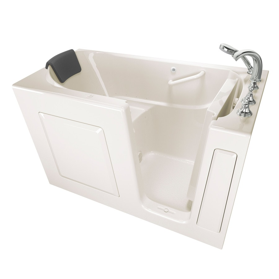 American Standard 59.5-in Linen Gelcoat/Fiberglass Walk-In Air Bath with Right-Hand Drain