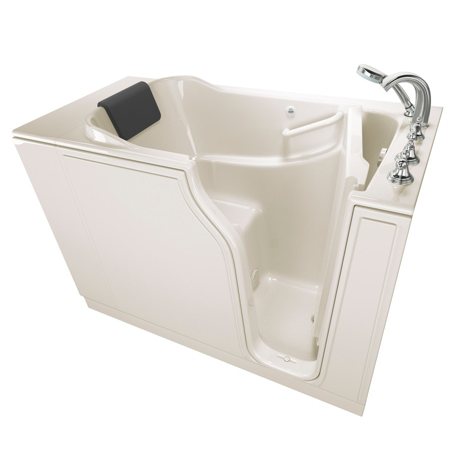 American Standard 51.5-in Linen Gelcoat/Fiberglass Walk-In Bathtub with Right-Hand Drain