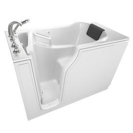 American Standard 51.5 In Gelcoat/Fiberglass Rectangular Drain Walk In  Bathtub With Faucet