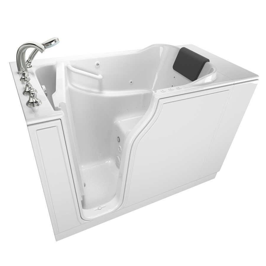 Shop American Standard 51 5 In White Gelcoat Fiberglass Walk In Whirlpool Tub