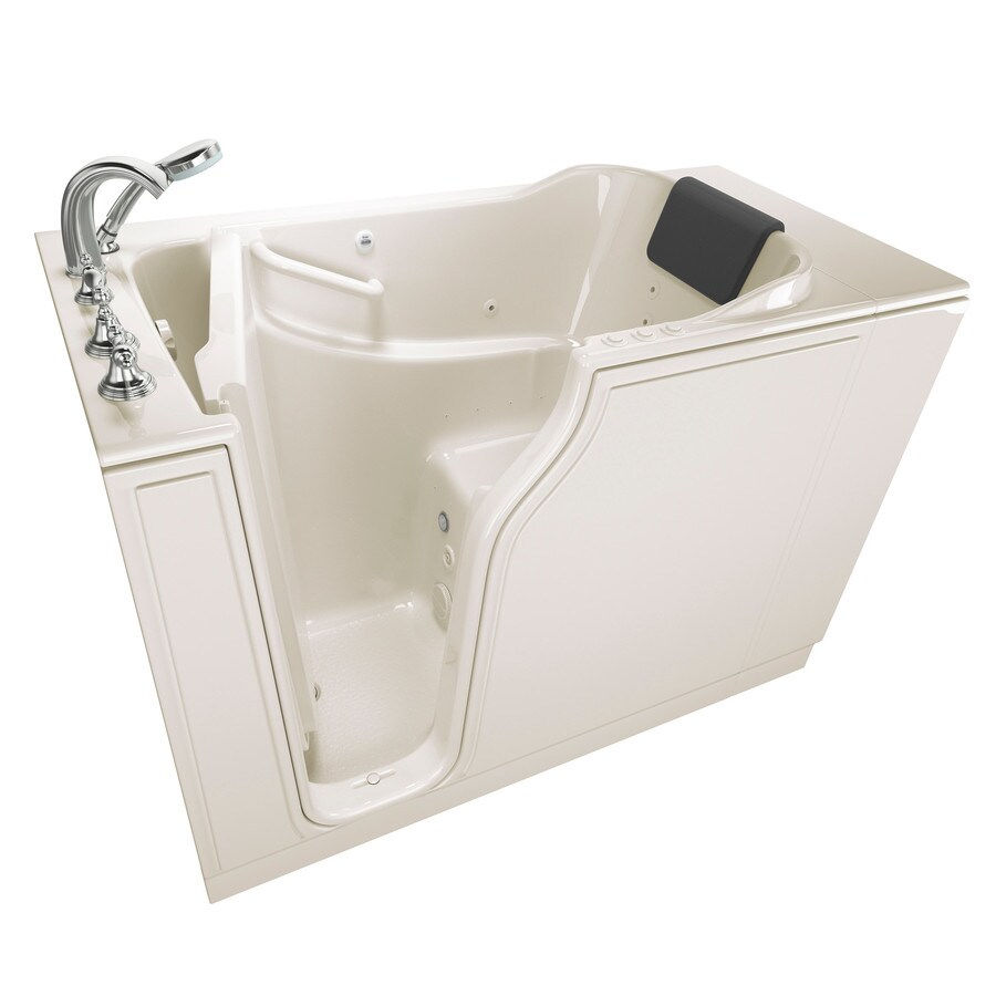 Shop American Standard 51 5 In Linen Gelcoat Fiberglass Walk In Whirlpool Tub
