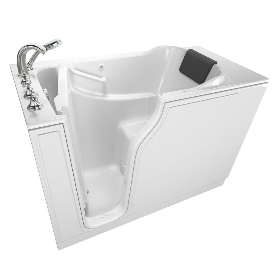 American Standard 51.5-in White Gelcoat/Fiberglass Walk-In Air Bath with Left-Hand Drain