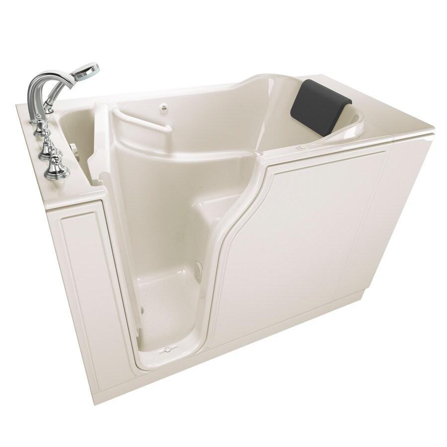 American Standard 51.5-in Linen Gelcoat/Fiberglass Walk-In Air Bath with Left-Hand Drain