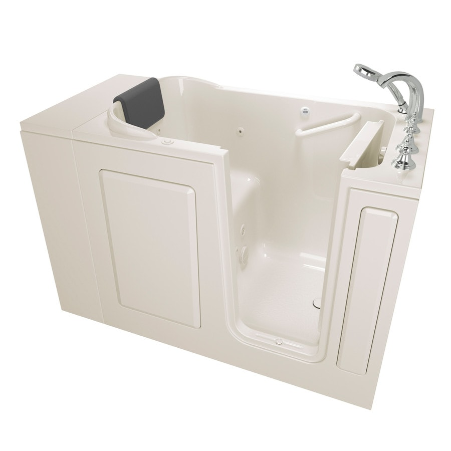 American Standard 48-in Linen Gelcoat/Fiberglass Walk-In Whirlpool Tub with Right-Hand Drain