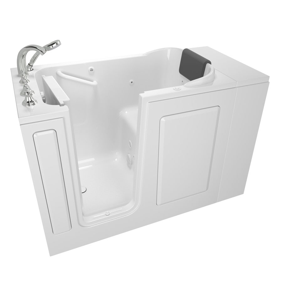 Shop american standard 48 in white fiberglass walk in for Fiberglass garden tub