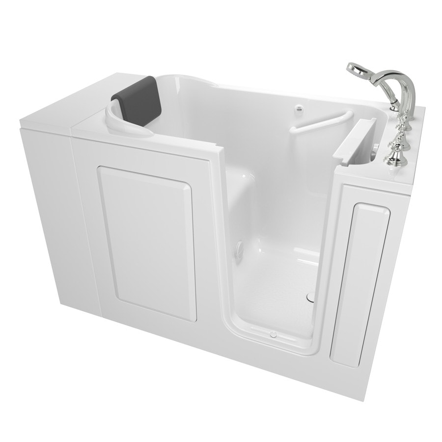 American Standard 48-in White Gelcoat/Fiberglass Walk-In Bathtub with Right-Hand Drain