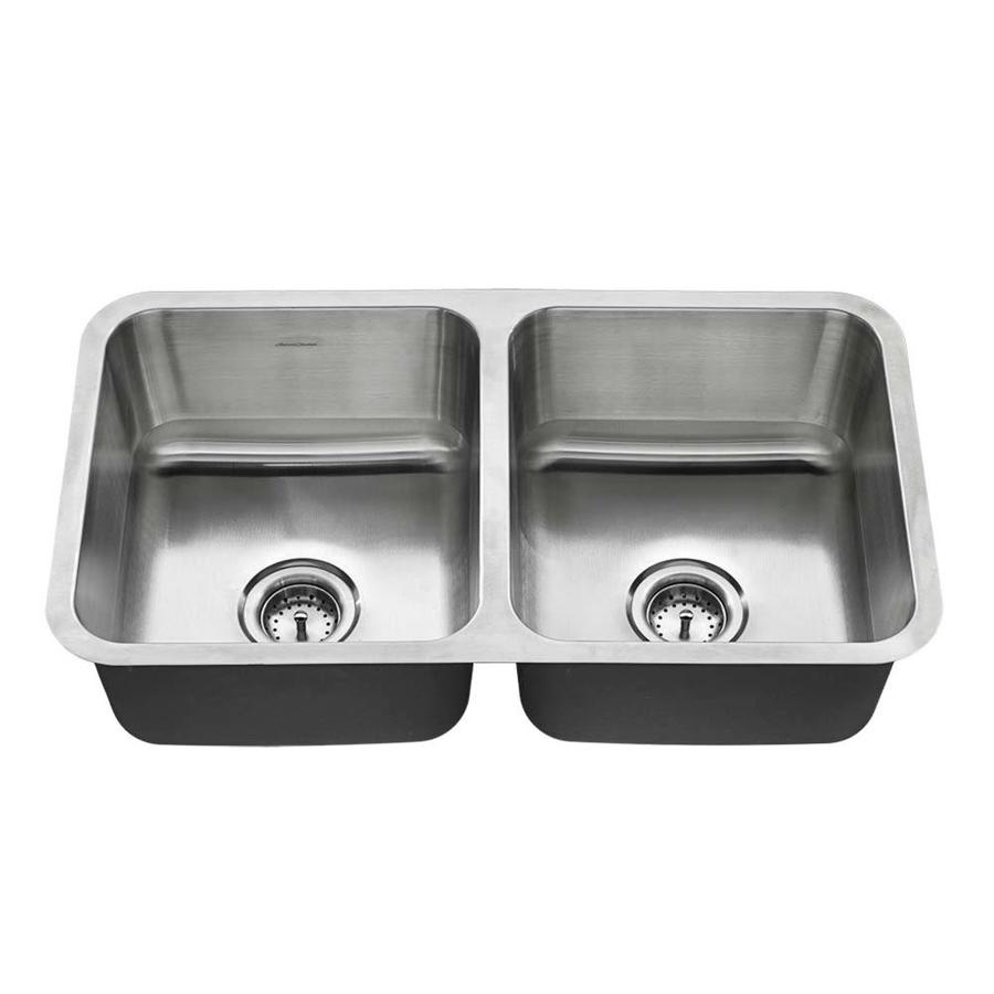 American Standard 18.0-in x 32.0-in Double-Basin Stainless Steel Undermount Residential Kitchen Sink