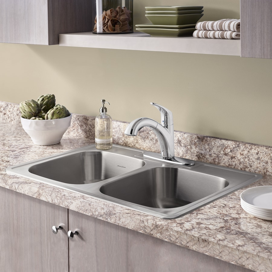 American Standard 22.0-in x 33.0-in Double-Basin Stainless Steel Drop-in 3-Hole Residential Kitchen Sink