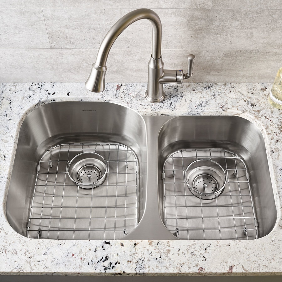 American Standard 32-in x 21-in Stainless Steel Double-Basin Undermount  Residential Kitchen Sink
