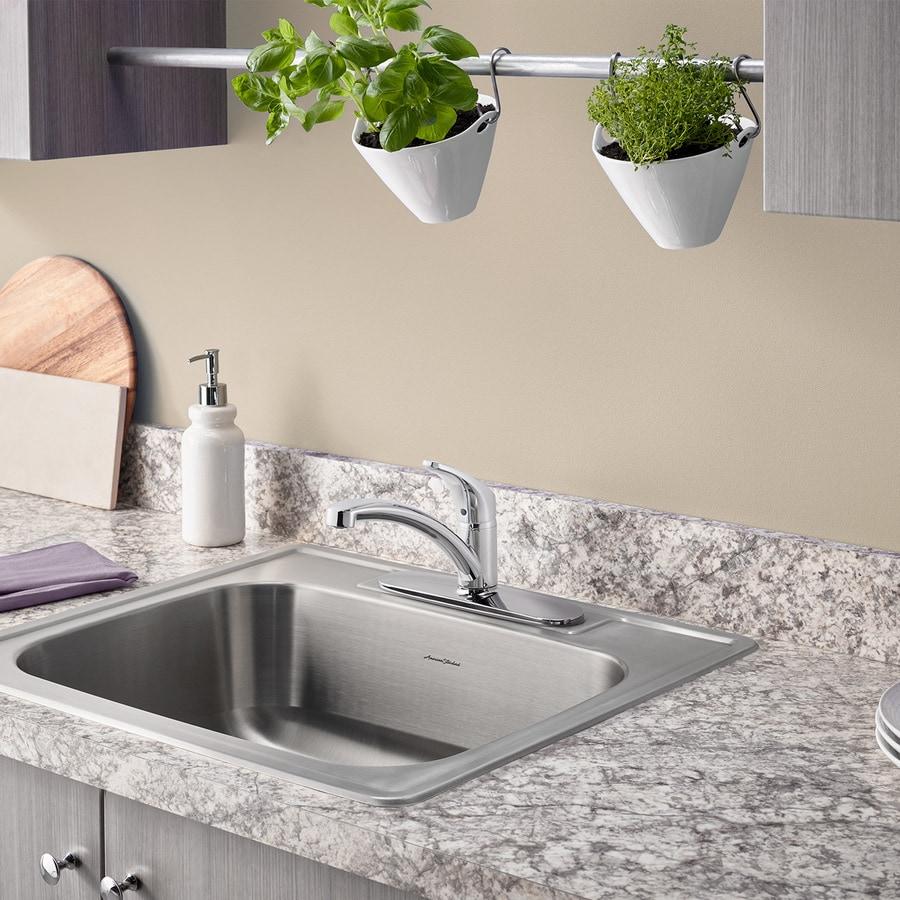 American Standard 22.0-in x 25.0-in Single-Basin Stainless Steel Drop-in 3-Hole Residential Kitchen Sink