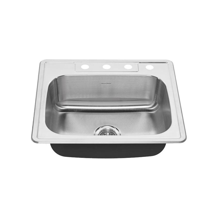 American Standard 22.0-in x 25.0-in Single-Basin Stainless Steel Drop-in 4-Hole Residential Kitchen Sink