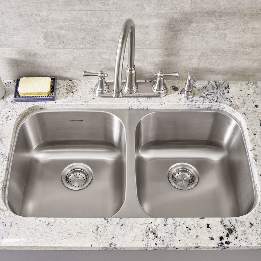 American Standard 18.5-in x 32.25-in Stainless Steel Double-Basin Undermount Residential Kitchen Sink
