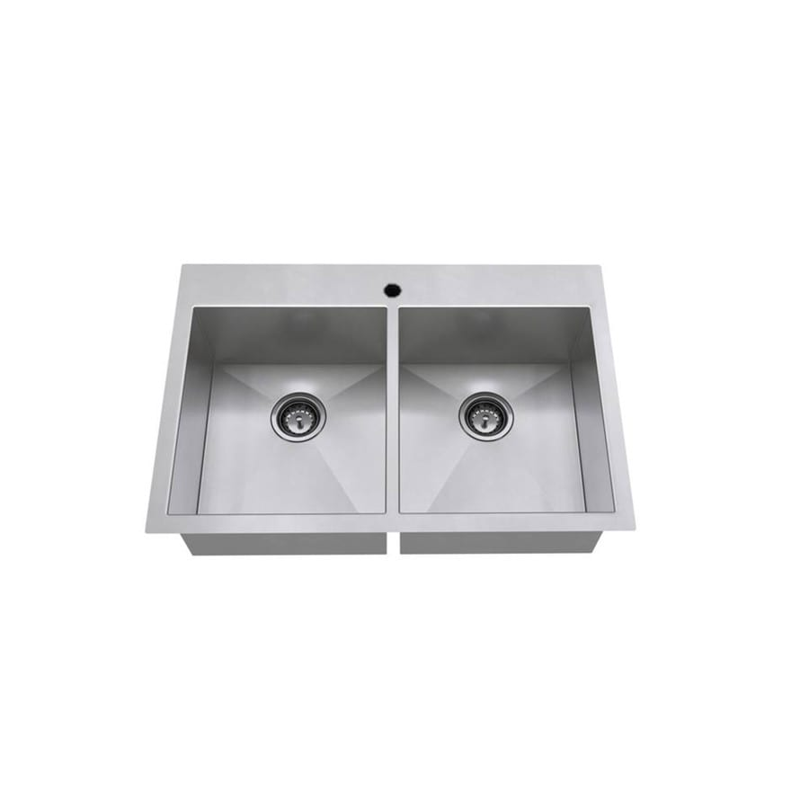 American Standard 22.0-in x 33.0-in Double-Basin Stainless Steel Drop-in or Undermount 1-Hole Residential Kitchen Sink
